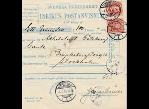 Schweden: 1904: Paketkarte Linköping nach Stockholm
