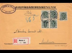 Schweden: 1918: Einschreiben Malmö nach Limhamn