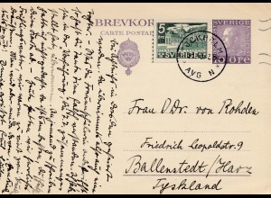 Schweden: 1935 Stockholm nach Ballenstedt