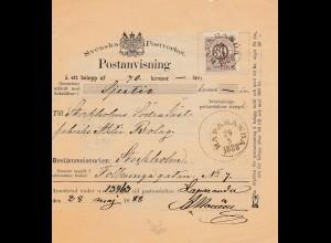 Schweden: 1888 Postanvisning Haparanda nach Stockholm