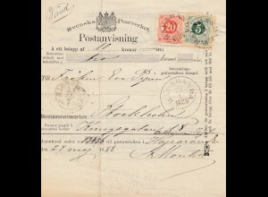 Schweden: 1888: Postanvising Haparanda nach Stockholm