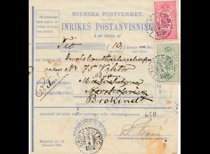 Schweden: 1904: Inrikes Postanvisining Linköping nach Brokind