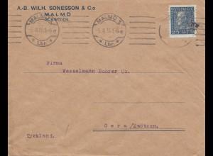 Schweden: 1925: Brief von Malmö nach Gera, Perfin