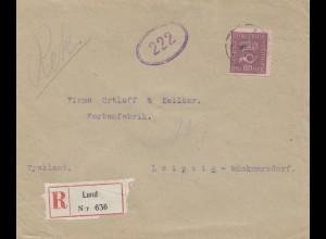 Schweden: 1921: Einschreiben Lund nach Leipzig - Farbenfabrik