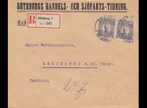 Schweden: 1921: Einschreiben Göteborg nach Kreiensen