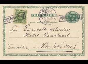 Schweden: 1907: Ganzsache Helsingor nach Nizza
