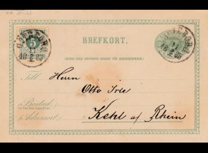 Schweden: 1885: Ganzsache nach Kehl