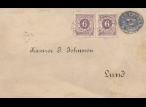 Schweden: 1884: Ganzsache nach Lund