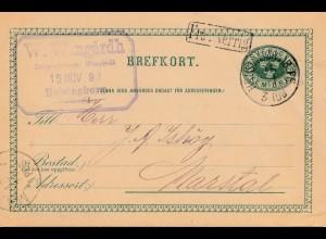 Schweden: 1890: Ganzsache Helsingborg nach Marstal