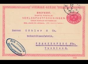 Schweden: 1912: Brefkort Norrköping nach Frankenberg
