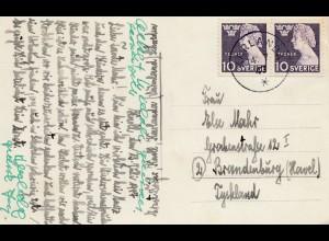 Schweden: 1947: Ansichtskarte Karlanda