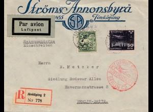 Schweden: 1931: Luftpost Einschreiben Jönköping nach Berlin