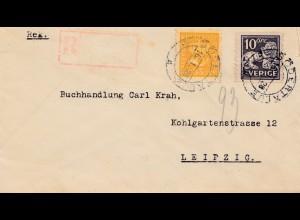 Schweden: 1928: Södeftalje nach Leipzig, Einschreiben