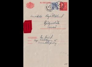 Schweden: 1945: Ganzsache Norrköping als Eilbote
