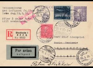 Schweden: 1931: Einschreiben Stockholm als Lufptost nach Helsinki