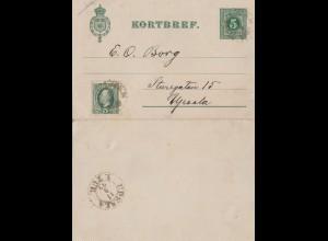 Schweden: 1893: Kortbref nach Upsala