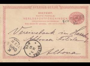 Schweden: 1891: Ganzsache nach Altona