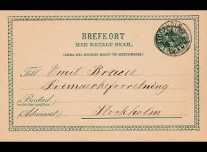 Schweden: 1898: Ganzsache innerhalb von Stockholm, mit Antwortkarte