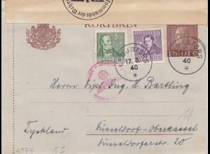 Schweden: 1940: Lesjöforts nach Düsseldorf, OKW Zensur