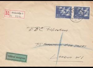Schweden: 1957: Einschreiben Södertälje nach London
