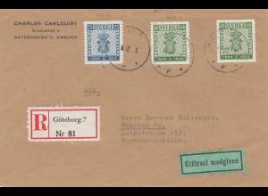 Schweden: 1955: Einschreiben Göteborg nach München