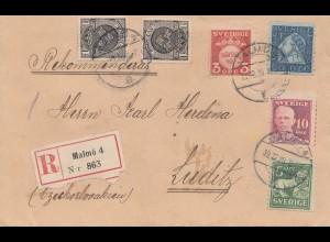 Schweden: 1920: Einschreiben Malmö nach Luditz