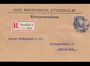 Schweden: 1919: Einschreiben Stockholm nach Berlin
