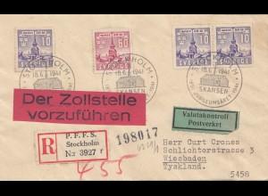 Schweden: 1941: Stockholm nach Wiesbaden, Einschreiben, Zollstelle vorführen