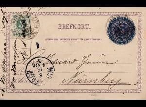 Schweden: 1885: Ganzsache nach Nürnberg