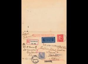 Schweden: 1941: Ganszache Einschreiben, Luftpost Stockholm nach Mähren, Antwort