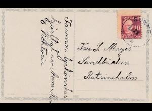 Schweden: 1910: Karte: Briefmarke mit verschobener Zähnung