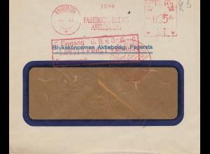 Schweden: 1933: Fagersta mit Karte rückseitig, Luftpost