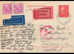 Schweden: 1941: Luftpost/Eilboten Ganzsache Stockholm Freiburg, Zensur