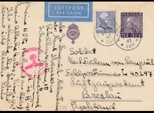 Schweden: 1941 Luftpost Ganzsache nach Breslau, interessante Feldpost FP L40297