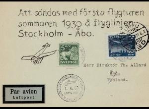 Schweden: 1930: Luftpost Stockholm nach Finnland