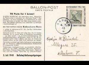 Schweden: 1948: Skurup Ballonpost nach Kopenhagen