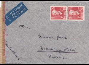 Schweden: 194x: Luftpostbrief nach Rensburg, Zensur
