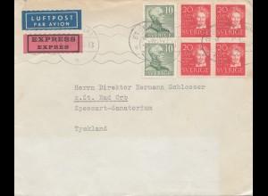 Schweden: 1949: Luftpost Eilboten nach Bad Orb