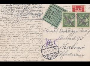 Schweden: 1924: AK München nach Malmö, Nachgebühr