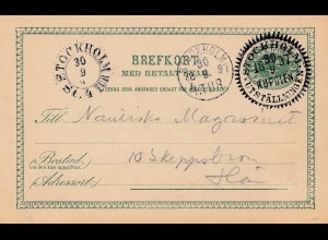 Schweden: 1897: Ganzsache Stockholm