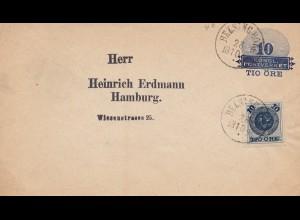 Schweden: 1894: Ganzsache nach Hamburg