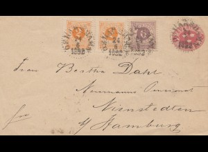 Schweden: 1892: Ganzsache nach Hamburg
