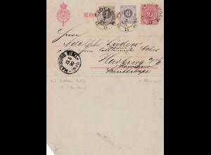 Schweden: 1890: Ganzsache-Kartenbrief nach Harburg