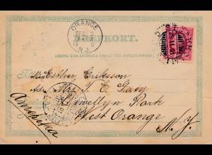 Schweden: 1901: Foto AK nach Orange in USA