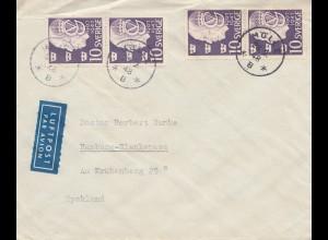 Schweden: 1948: Luftpostbrief Mölle nach Hamburg