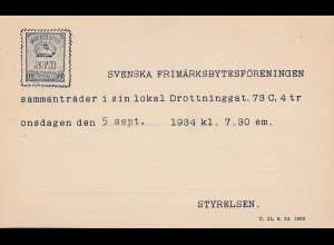 Schweden: 1934: Ganzsache Stockholm