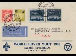 Schweden: 1935: Lufpost Ingarö-Stockholm nach USA, Gymnastikläger