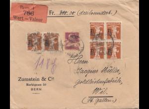 Schweiz: 1922: Wertbrief von Bern nach Wil