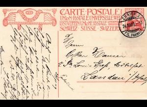 Schweiz: 1909 Ganzsache von Zürich nach Landau
