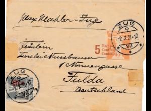 Schweiz: 1921: Brief von Zug nach Fulda